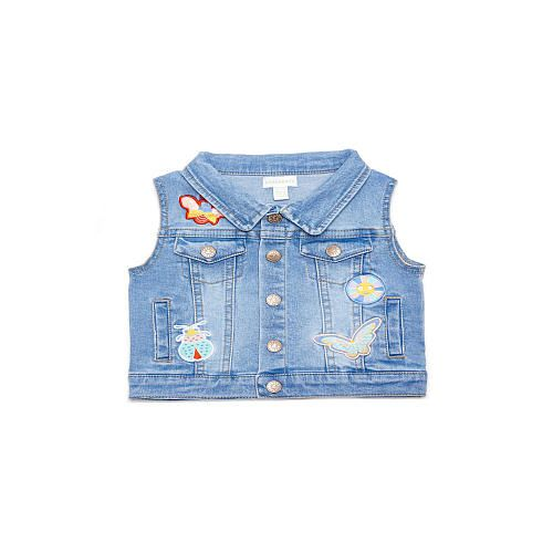 58793c3fcd Margherita Kids    denim patches embroidery vest light wash denim  sleeveless denim girls top