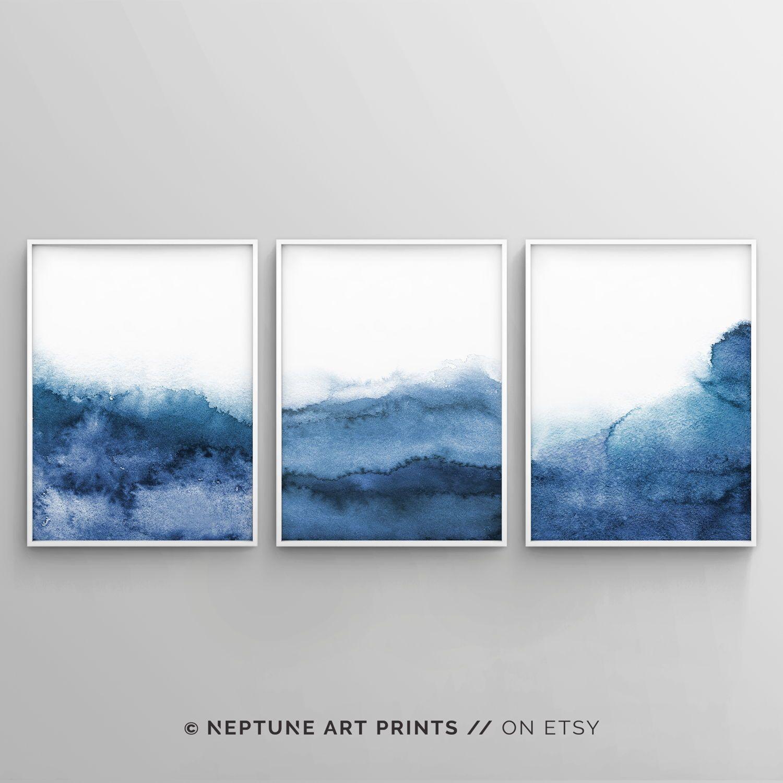 Set Of 3 Navy Blue Wall Art Minimalist Print Blue Abstract Art Bedroom Wall Art Printable Watercolor Print Modern Landscape Print Grey Wall Art Blue Abstract Art Navy Blue Wall Art