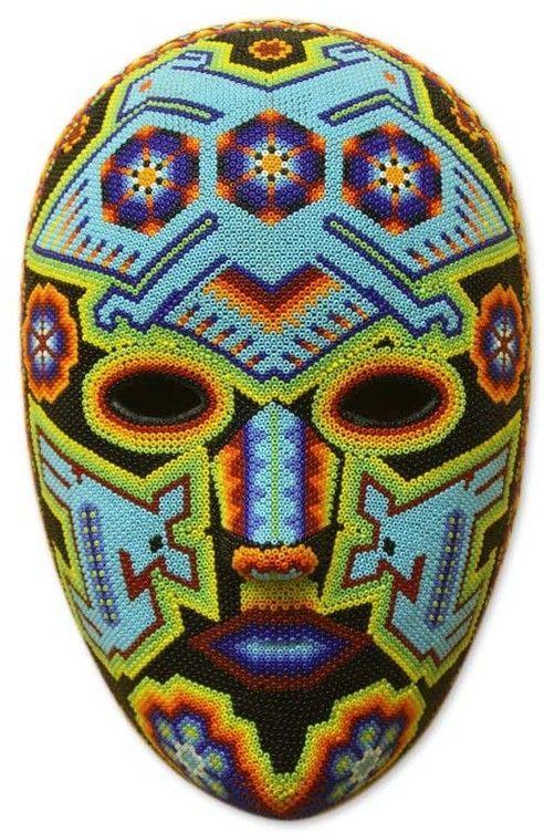 Novica Higinio Hernandez Authentic Hand Beaded Huichol Mask Wall Decor Mexican Folk Art Huichol Art Masks Art