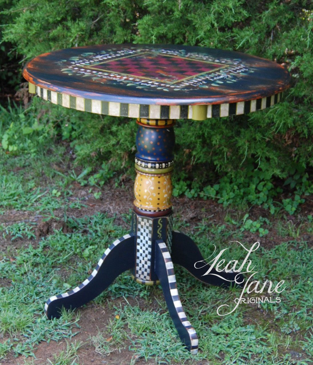 Hand Painted Bistro Pub Checker Board Game Table Bijzettafeltjes Decoratie Meubels