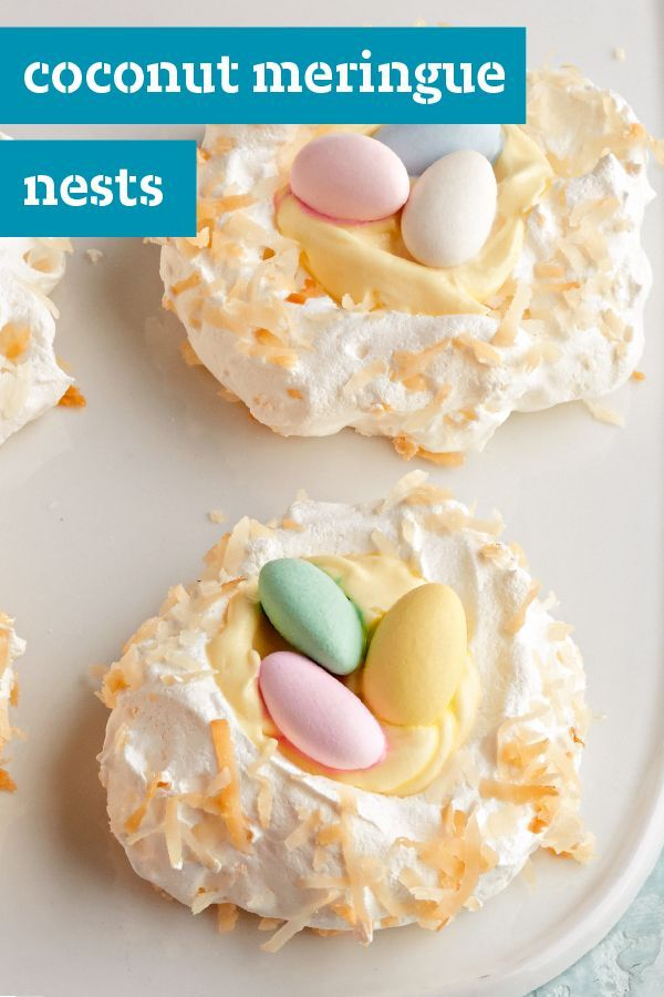 Coconut Meringue Nests – Surprise everyone at your Easter party with these delightful spring-themed desserts. Filled with a vanilla pudding mixture and almonds, this recipe is so easy that your kids can help you too!