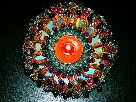 Recycled diy candle decoration with aluminium foil and for Home decoration from waste