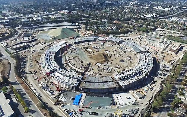 Apple 'spaceship' campus: new drone footage emerges from