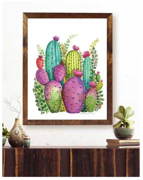 Colorful Cactus Garden Art/ Cactus Wall Decor/ Watercolor