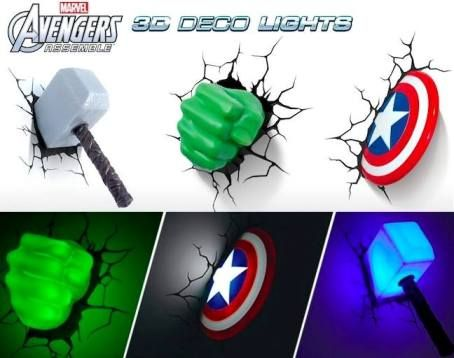 Luminrias 3d light fx avengers em nossa loja confira www marvel avengers wall lights iron man thor captain america and hulk aloadofball Gallery