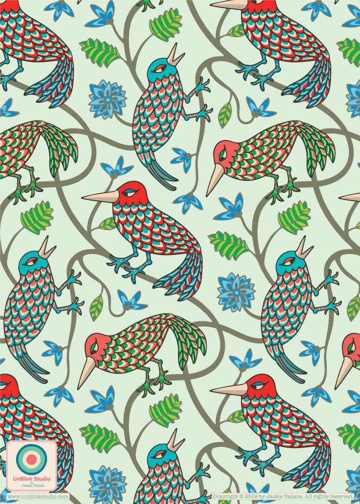 Fun and colourful bird pattern design from UnBlink Studio by Jackie Tahara!  #unblinkstudio #jackietahara #surfacepattern #surfacedesign #surfacepatterndesign #patterndesign #repeatpattern #birdpattern #artlicensing #birdpatterndesign #cutebirds #birdsforinteriors #textiledesign #textilepattern #fabricdesign #quiltingpattern #homedecor #housewaredesign #printandpattern #stationerydesign #stationerypattern #interiordesign   #surfacepatterndesigner #patterndesigner #canadiandesigner
