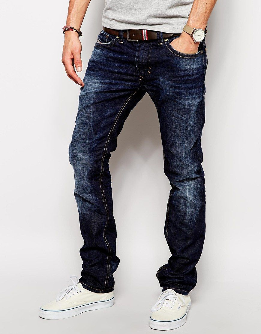 Diesel Jeans Thavar 831Q Slim Fit Dark Wash at asos.com