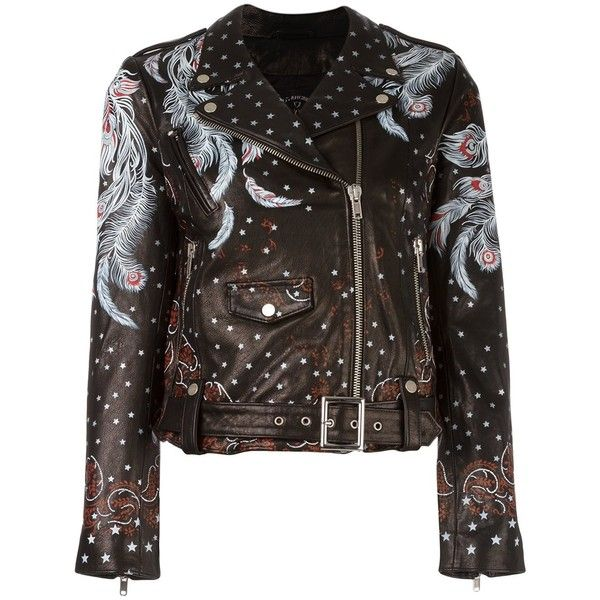 Htc Hollywood Trading Company feather print biker jacket ($1,258) ❤ liked on Polyvore featuring outerwear, jackets, black, hollywood trading company, biker jacket, moto jacket, motorcycle jacket and rider jacket