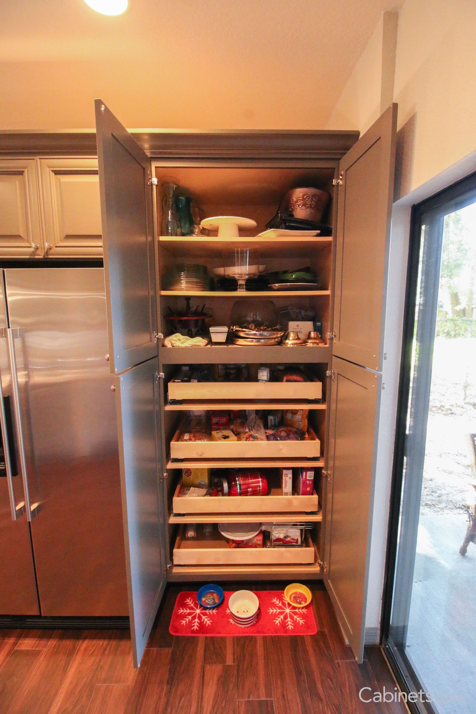 This Pantry Features Our Springfield Maple Creekstone Cabinets Kitchen Organization Pantry Kitchen Organization Rustic Kitchen Design