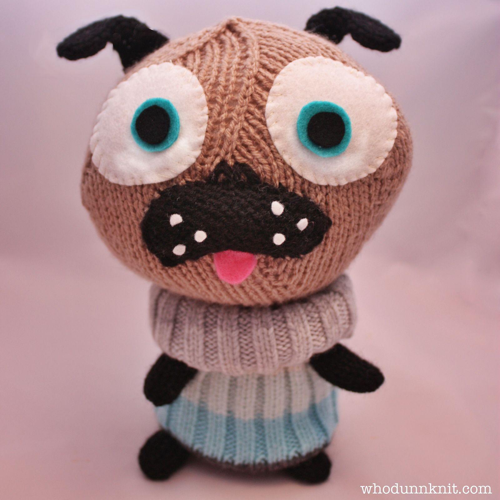 Little Knitted Polar Pug | Pugs, Pug scarf crochet pattern ...