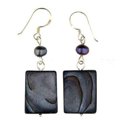 Blue Earrings (Shell Rectangles)