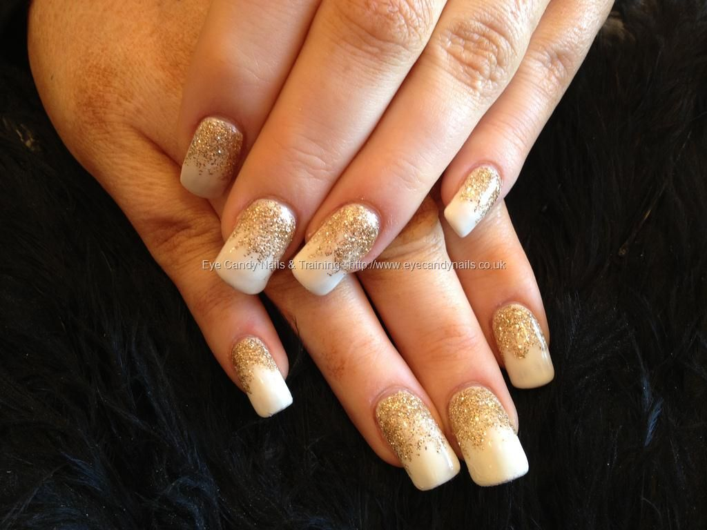white gelish gel polish with gold glitter gel fade over acrylic