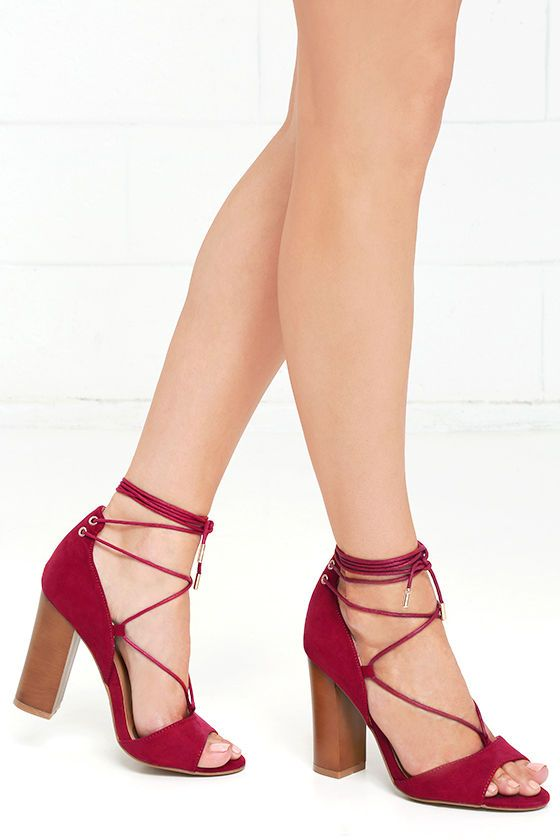 Quoth the Maven Crimson Red Suede Lace-Up Heels | Lace, PopSugar ...