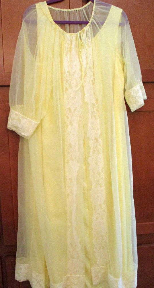 Vtg Intimate Peignoir Robe Tie Nightgown Yellow Sheer Nightie Gown XXXL 3XL  Sexy  Unbranded dcb2b8f64