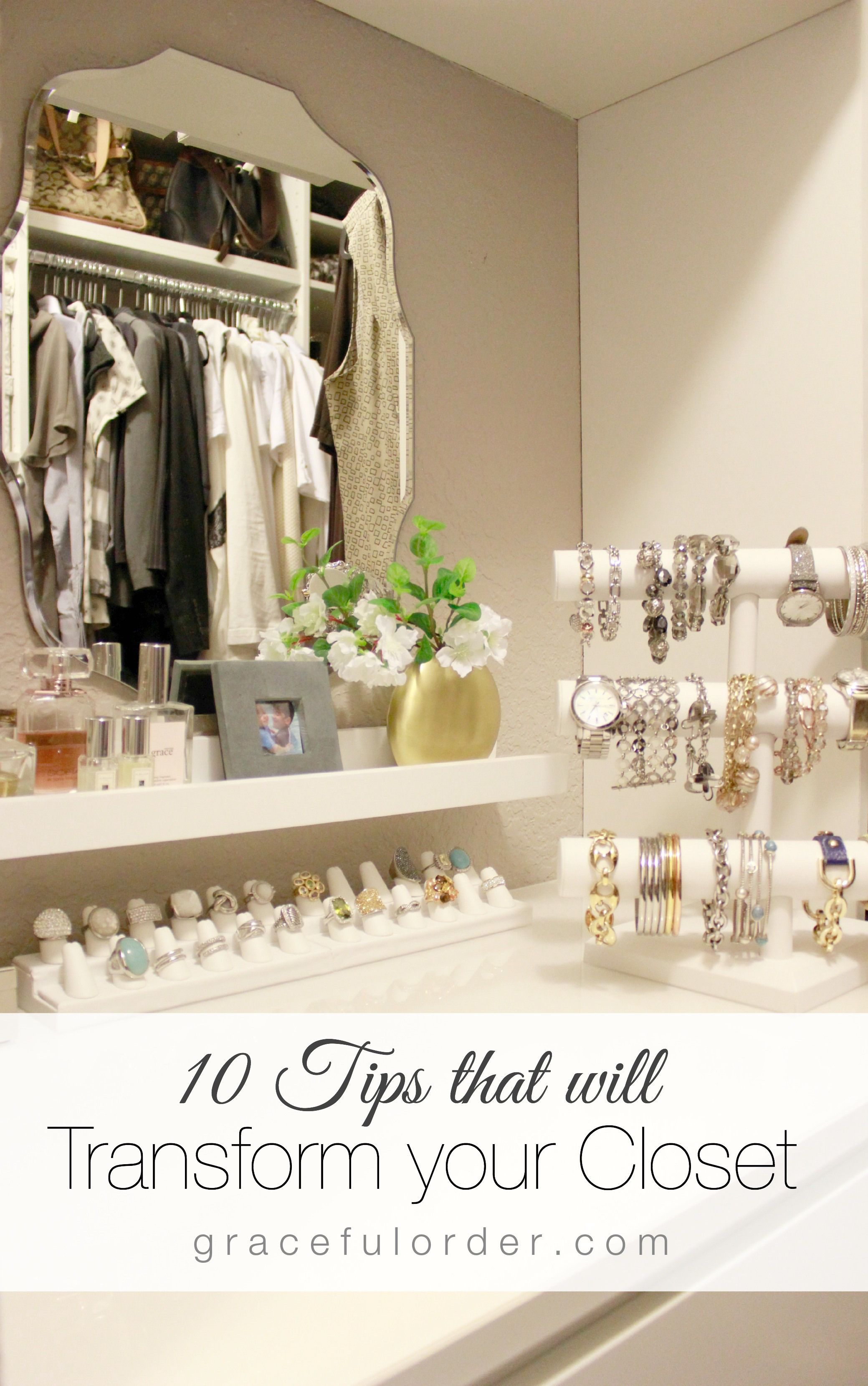 I love this beautiful small walk in closet Especially her use of jewelry displays to organize