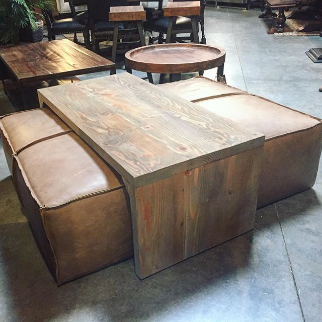 Ottoman Coffee Table With Sliding Wood Top: Yep, It's A Coffee Table/leather Ottoman And It's AMAZING