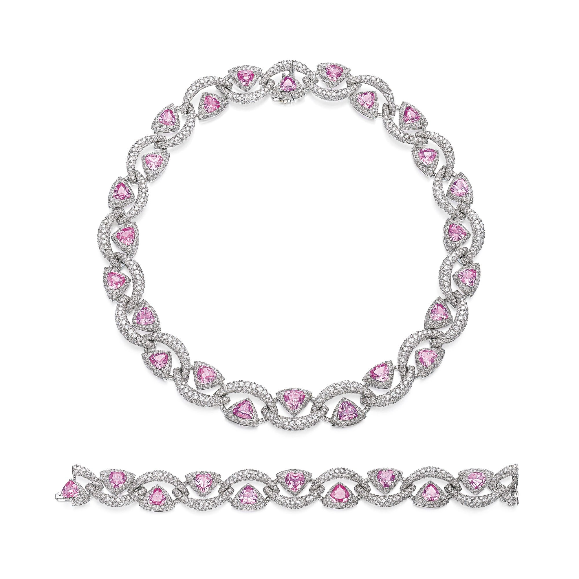 cut round sapphire image pink princess white and bracelet diamond gold in