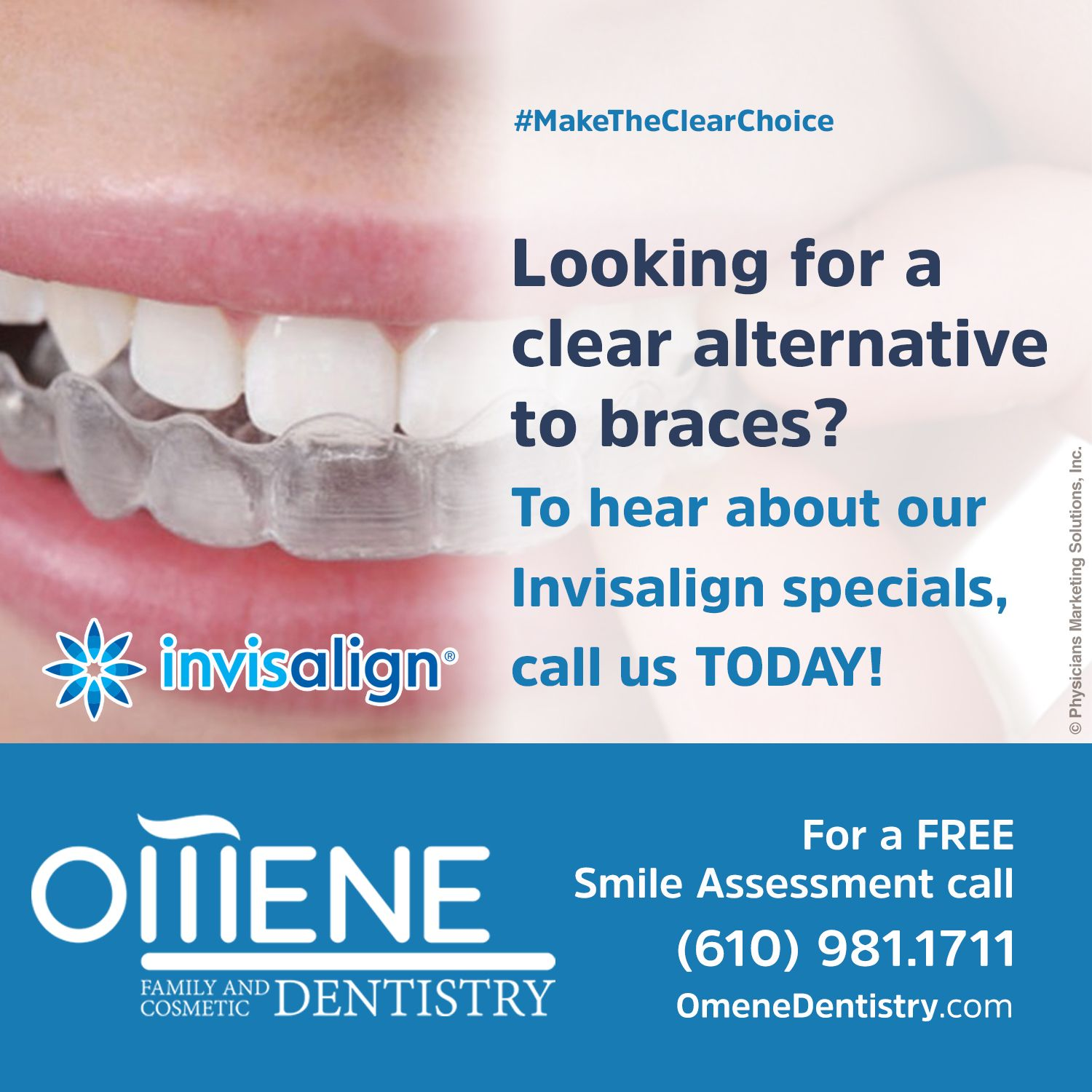 Looking for a clear alternative to #‎braces? To hear about our #‎Invisalign specials, call us at (610) 981.1711 / www.omenedentistry.com #drguliaomene #omenedentistry #pensilvania #dentalpractice #confidence #cosmeticdentistry #dentaljob #tmj #dentistryservices #implantdentistry #invisalign #dentalcare #dentalfiller #preventivedentalcare #dentist #porcelain #crowns #veneers #dentalimplant #dentalbridge #clearbraces #teeth #whitening #restorative #preventative #dentistry #paoli