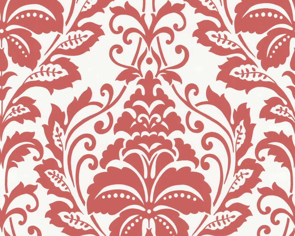 Louis Red Damask Wallpaper Victorian Wallpaper by Brewster