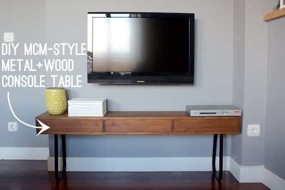 Diy metal wood console table. Not usually my style, but I like it ...