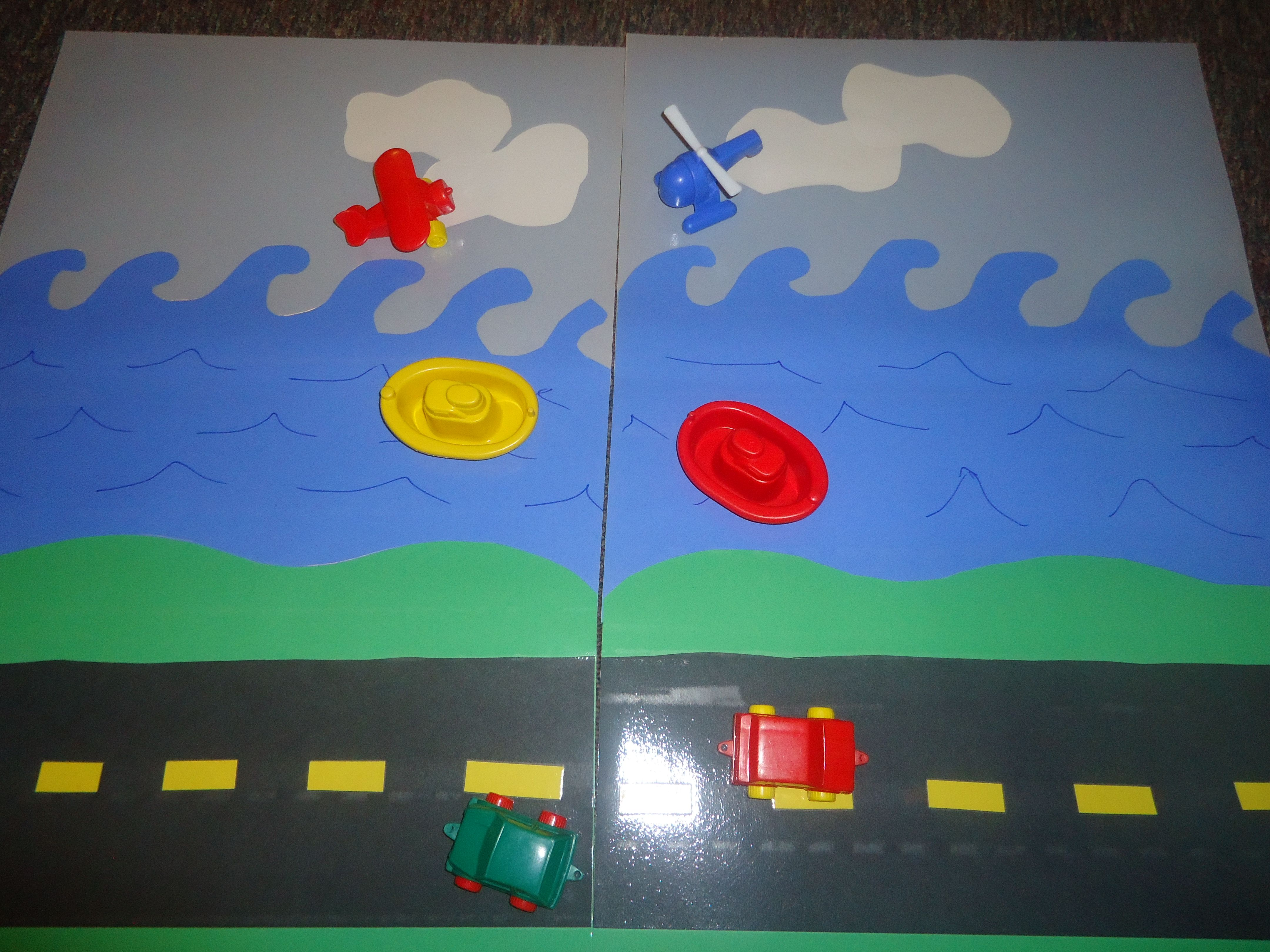 large transportation mat that i made from construction paper the