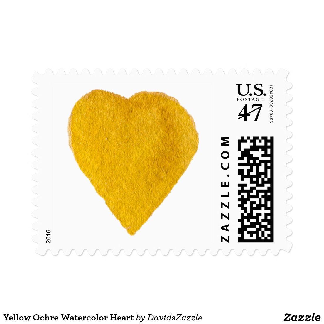 Yellow Ochre Watercolor Heart Postage  Watercolor Heart