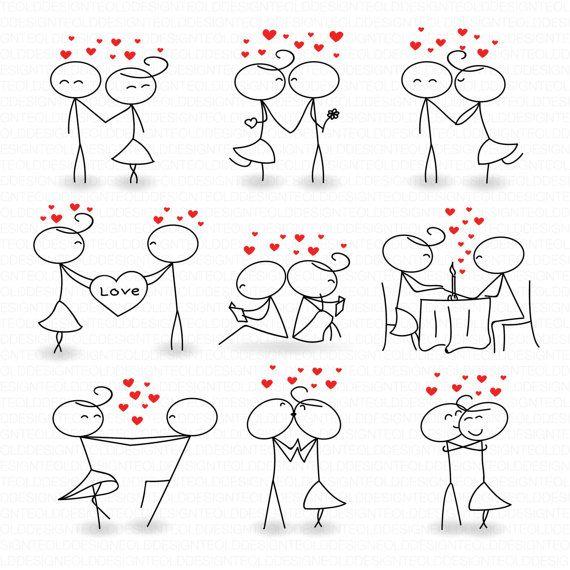 Hochzeit Digital Clipart-Stick Abbildung Hochzeit von TeoldDesign