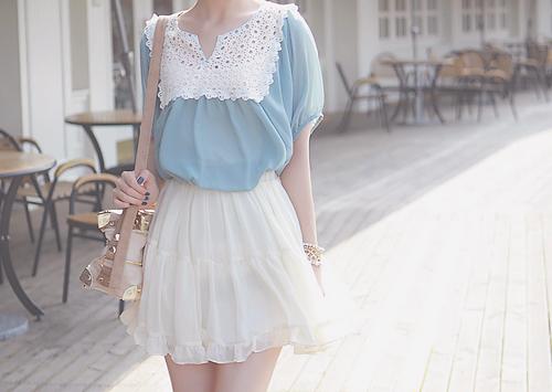 love the blue lace blouse