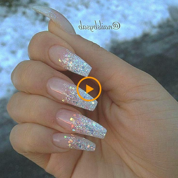 Tingling Acrylic Nails Casket 11. Ombre nails with clear rhinestone accented nail … …