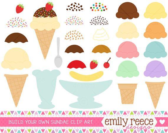 DOLLAR SALE Ice Cream Maker Sundae Banana Split Cute Clip Art ...