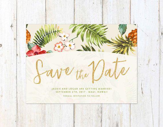 Tropical Save The Date Hawaiian
