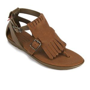 0e0f43d46b4 Hunter Women's Original Fringe T-bar Sandals - Light Khaki/Brown ...
