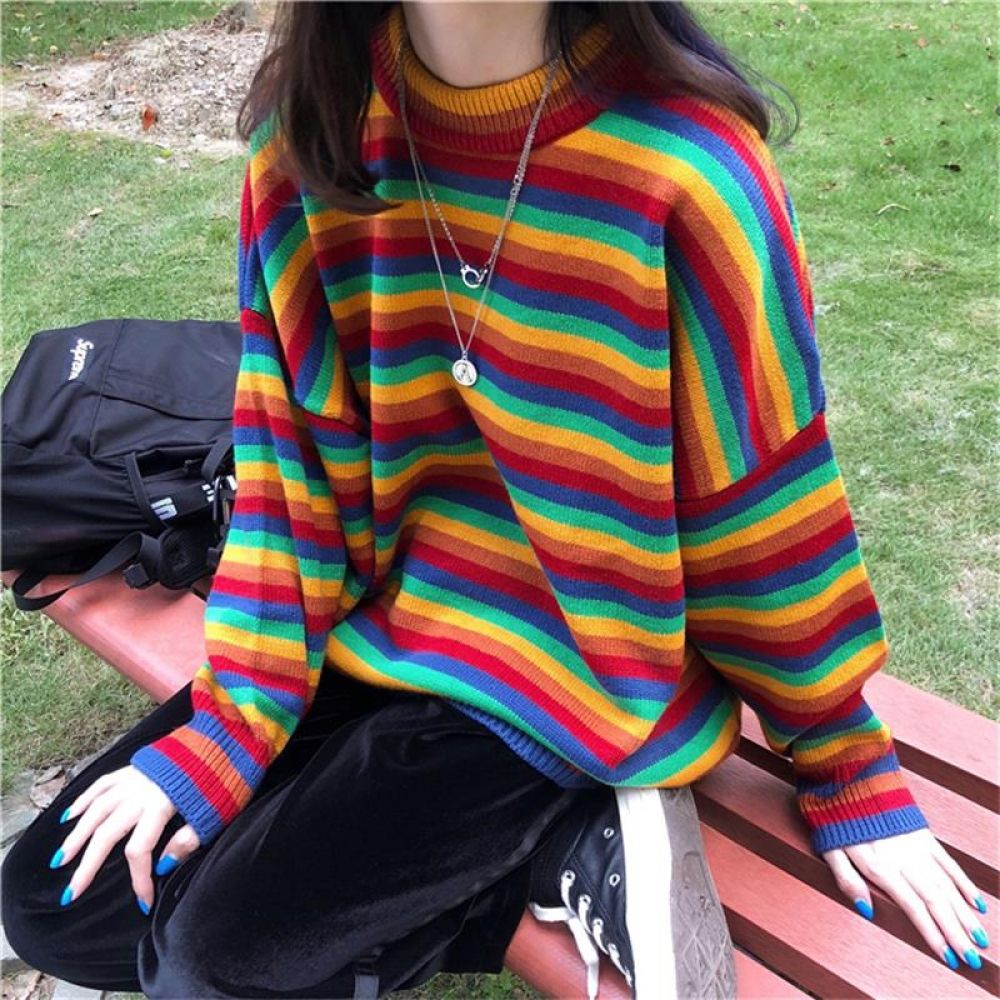 Female Korean Harajuku Hong Kong-flavored Loose Striped Sweater Women s  Sweaters Japanese Kawaii Ulzzang Clothing For Women Price  39.95  hoodie 16b30721d