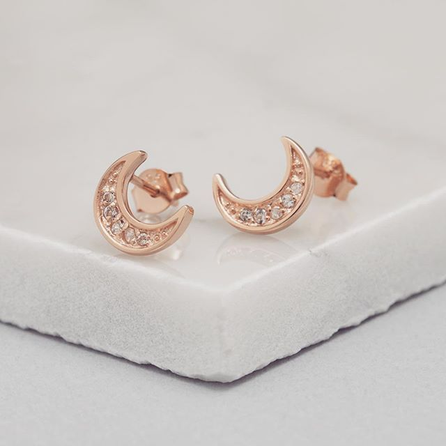 Rose Gold Crescent Moon Studs with inset Topaz Stud Earrings