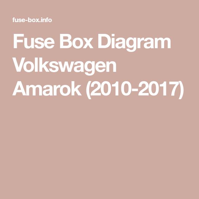 Fuse Box Diagram Volkswagen Amarok 2010 2017 In 2021 Fuse Box Volkswagen Fuses