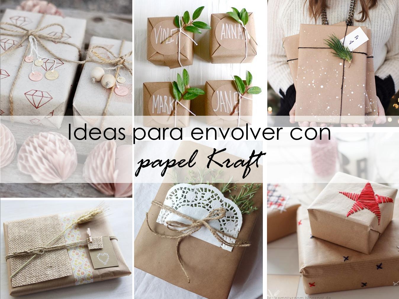 Decoracion facil ideas con papel kraft para envolver los - Ideas para arreglos navidenos ...