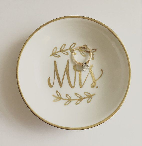 Mrs Ring Dish Jewelry Dish Trinket Dish Wedding Ring Dish