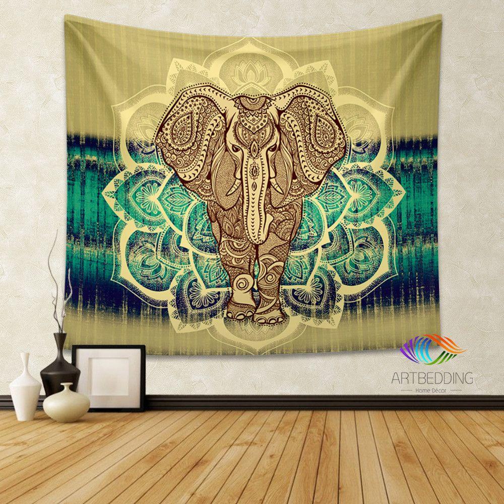 Elephant Tapestry, Lotus Mandala wall tapestry, Hippie ...