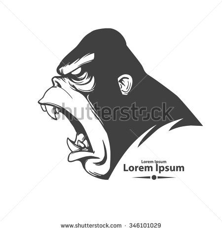 angry gorilla head, profile view, logo, mascot, emblem for