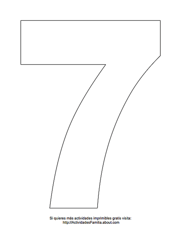 Dibujos de números para colorear: Número 7 para colorear | Aula ...