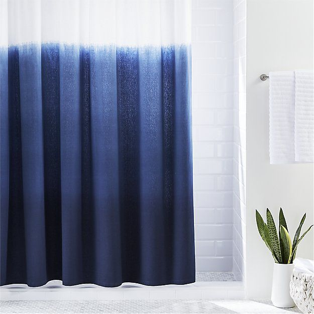 Free Shipping Shop Blue Ombre Shower Curtain Dip Dyed By Artisans In India This Soft Cotton Curt Ombre Shower