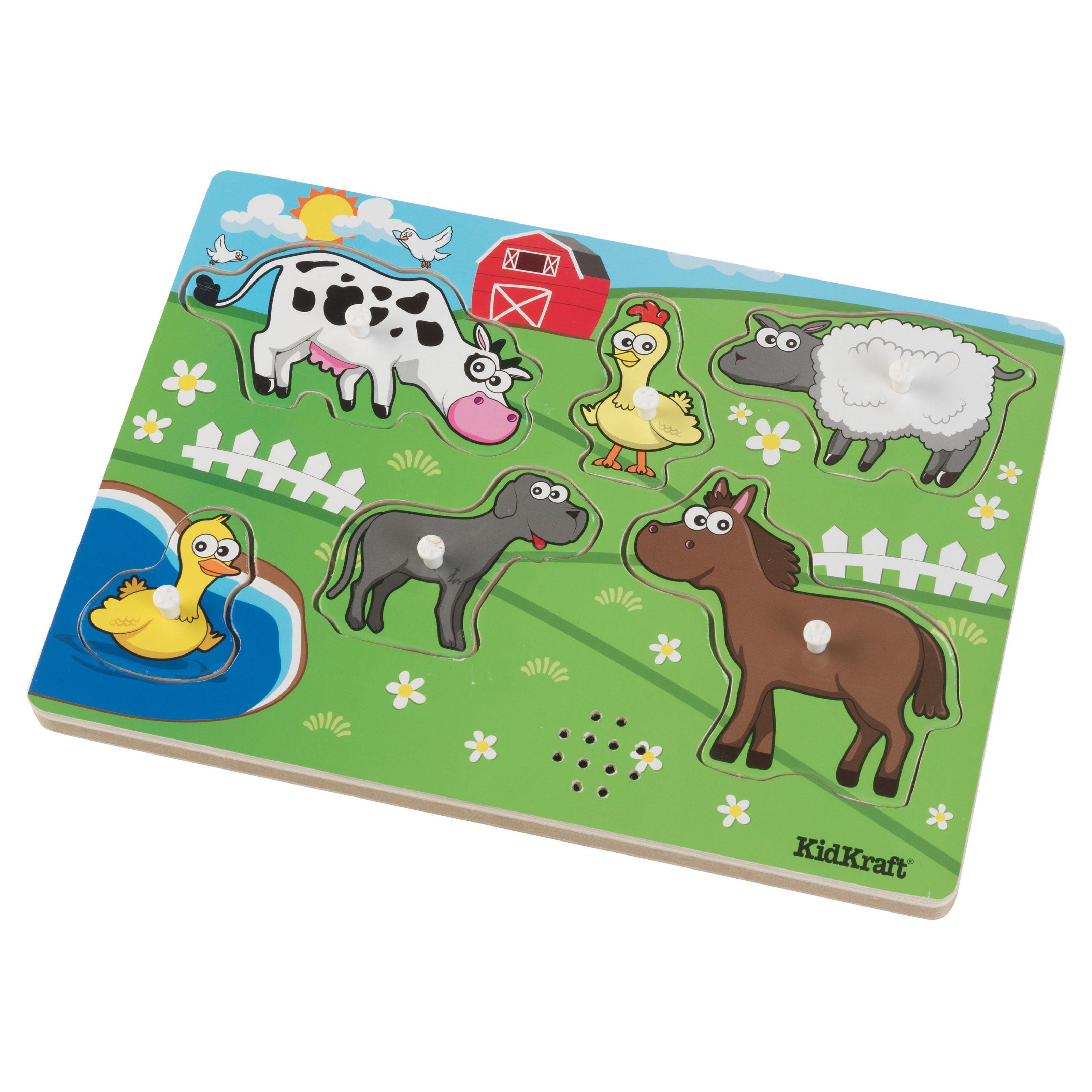 KidKraft 6 Piece Barnyard Animals Puzzle with Sounds ...
