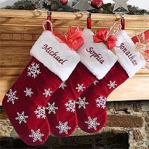 Red Velvet Personalized Snowflake Christmas Stockings by ...