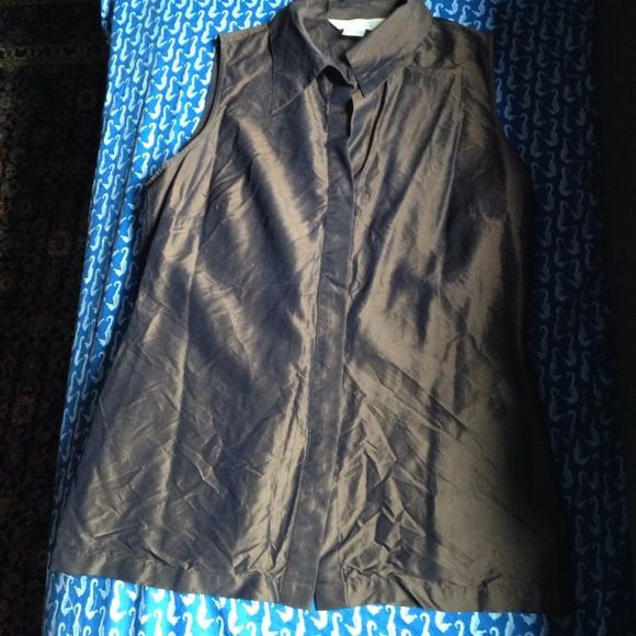a29e1b95fed1e Raw Silk Express Sleeveless Blouse Button down sleeveless brown silk blouse  with collar in very good gently used condition. Some unraveling thread on  hem.