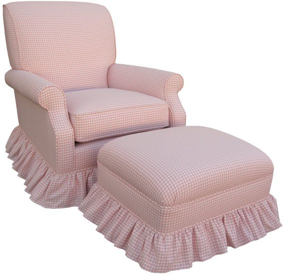 PINK Gingham Check Upholstered Rocker Glider Chair Nursing Baby Nursery NEW  On Etsy, $625.00
