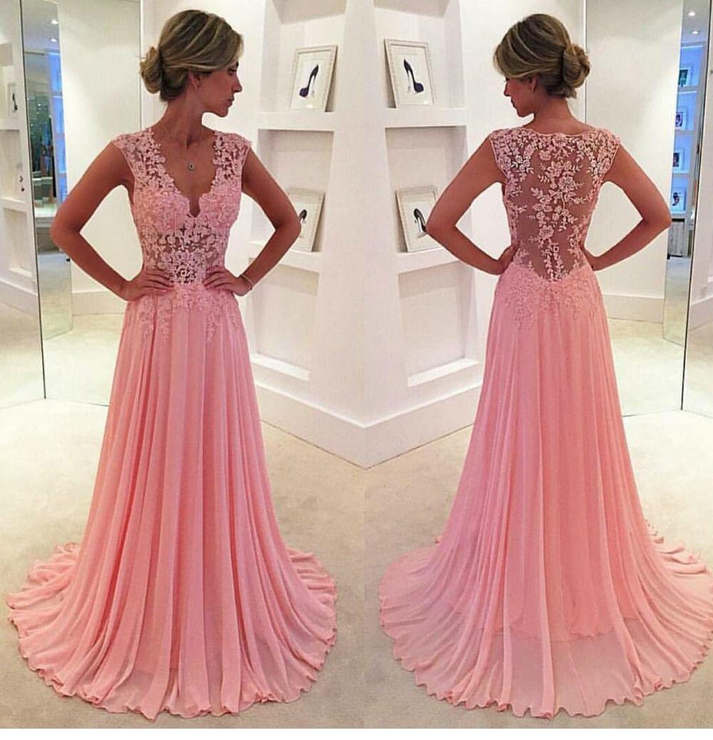 Resultado de imagen para vestidos largos con encaje rosa | Vestido ...