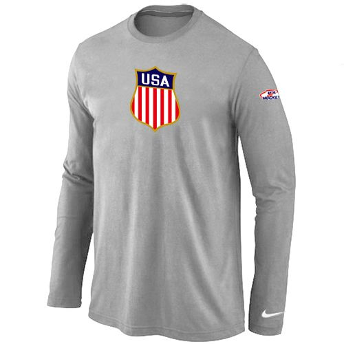 Nike Team USA Hockey Winter Olympics KO Collection Locker Room Long Sleeve T -Shirt L. Team LogoOlympische WinterspieleLange ÄrmelGrauSchließfächerTennessee  ...
