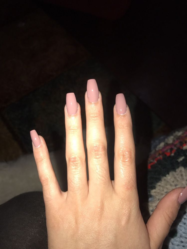 Mauve medium length ballet,shaped nails