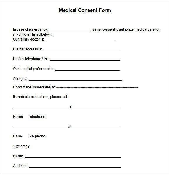 Medical Consent Form Minor Child Treatment Template  Home Design