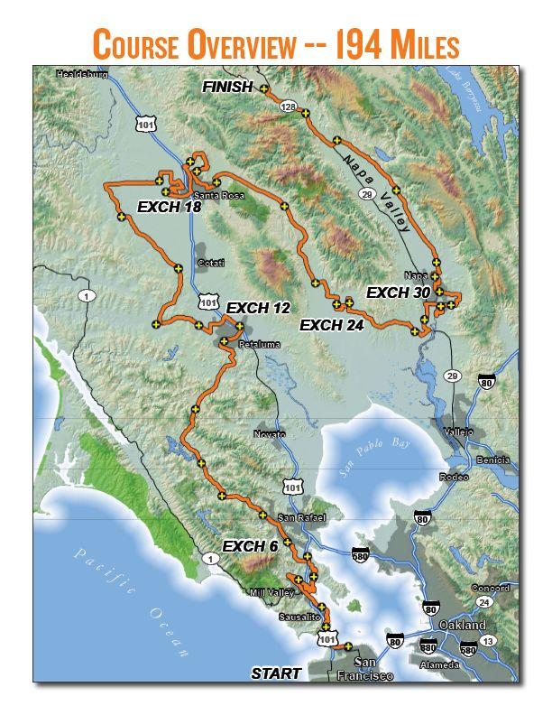 9•14•12  Course Map: Ragnar Relay Napa Valley
